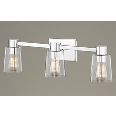 3-Light Clear Glass Bathroom Light Chrome