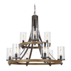 Feiss Lighting Angelo Oak / Slate Grey Metal Chandelier