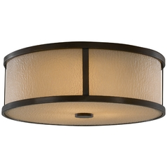 Modern Flushmount Light with Amber Glass in Heritage Bronze Finish