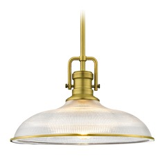 Brass Pendant Light Prismatic Glass 14.38-Inch Wide