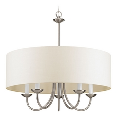 Drum Pendant Light with Beige / Cream Shades in Brushed Nickel Finish