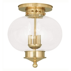 Livex Lighting Harbor Polished Brass Close To Ceiling Light