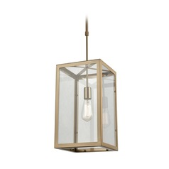 Elk Lighting Parameters Satin Brass Mini-Pendant Light with Rectangle Shade