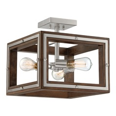 Industrial Semi-Flushmount Light Brushed Nickel Westerly by Quoizel Lighting