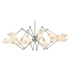 Mid-Century Modern Polished Nickel Chandelier 12-Lt Adjustable Arms by Hudson Valley
