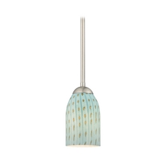 Design Classics Lighting Modern Mini-Pendant with Turquoise Art Glass Shade 581-09 GL1003D