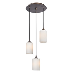 Design Classics Lighting Modern Multi-Light Pendant Light with White Glass and 3-Lights 583-220 GL1024C