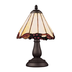 Table Lamp with Tiffany Glass in Bronze Finish