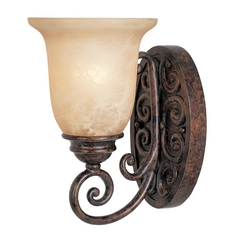 Sconce Wall Light with Beige / Cream Glass in Burnt Umber Finish