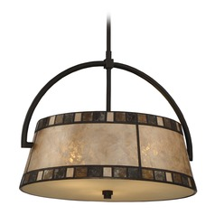 Quoizel Kingsford Teco Marrone Pendant Light with Drum Shade