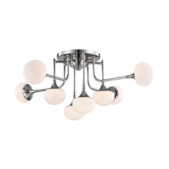 Mid-Century Modern LED Semi-Flushmount Light Polished Nickel Fleming by Hudson Valley