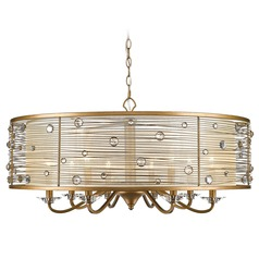 Joia 8 Light Chandelier in Peruvian Gold with a Sheer Filigree Mist Shade