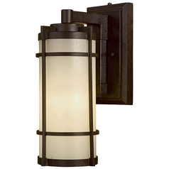 Modern Outdoor Wall Light with White Glass in Textured French Bronze Finish
