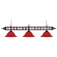 Modern Billiard Light with Red Glass in Matte Black Finish