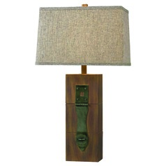 Kenroy Home Locke Wood Grain Table Lamp with Rectangle Shade