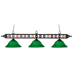 Modern Billiard Light with Green Glass in Matte Black Finish