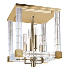 Crystal Semi-Flushmount Light Brass Alpine by Hudson Valley Lighting
