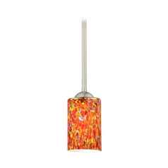 Modern Mini-Pendant Light with Cylinder Art Glass Shade