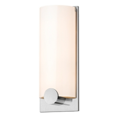 Modern Sconce Wall Light with White Glass in Satin Chrome Finish