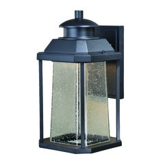 Seeded Glass LED Outdoor Wall Light Black Vaxcel Lighting