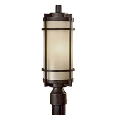 Modern Post Light with White Glass in Textured French Bronze Finish