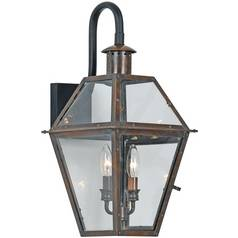 Outdoor Wall Light with Clear Glass in Aged Copper Finish