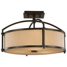 Modern Semi-Flushmount Light with Amber Glass in Heritage Bronze Finish