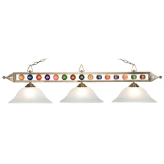 Modern Billiard Light with Alabaster Glass in Satin Nickel Finish