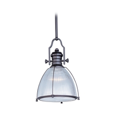 Nautical Pendant Light with Clear Halophane Glass