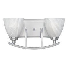 Bathroom Light with Alabaster Glass in Satin Platinum Finish