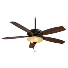 52-Inch Ceiling Fan with Light with Amber Glass in Oil Rubbed Bronze Finish