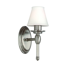 Sconce Wall Light with White Shade in Satin Nickel Finish