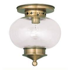 Livex Lighting Harbor Antique Brass Close To Ceiling Light