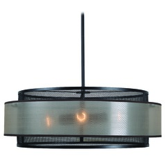 Kenroy Home Alessandra Oil Rubbed Bronze Pendant Light with Drum Shade