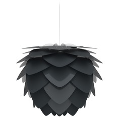 White Pendant Light with Anthracite Black Metal Shade
