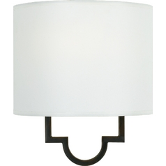 Modern Sconce Wall Light with White Shade in Teco Marrone Finish