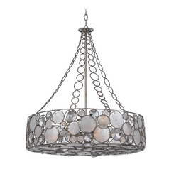 Crystal Drum Pendant Light with White Glass in Antique Sliver Finish