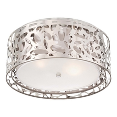 Modern Flushmount Light with White Cage Shades in Chrome Finish
