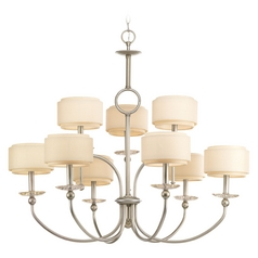 Chandelier with Beige / Cream Shades in Silver Ridge Finish