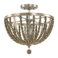 Capital Lighting Lowell Tuscan Bronze with Wood Beads Semi-Flushmount Light