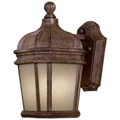 Outdoor Wall Light with White Glass in Vintage Rust Finish