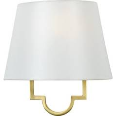Modern Sconce Wall Light with White Shade in Gallery Gold Finish