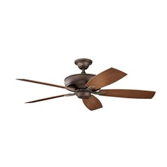 Kichler Ceiling Fan with Alabaster Glass Light Kit in Copper Finish