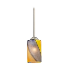 Design Classics Lighting Modern Mini-Pendant Light with Art Glass 581-09 GL1015C