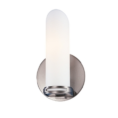 Modern Sconce with White Glass in Satin Nickel Finish