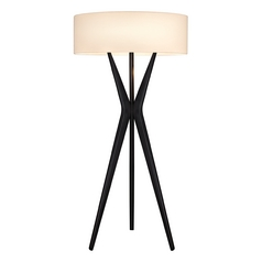 Modern Tripod Floor Lamp in Black Finish with Drum Shade