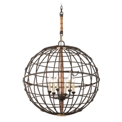 Troy Lighting Latitude Liberty Rust Pendant Light with Globe Shade