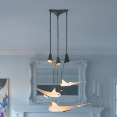 Hubbardton Forge Lighting Icarus Burnished Steel Multi-Light Pendant with Conical Shade