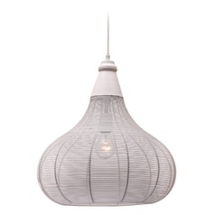 Kenroy Home Hartlyn White Pendant Light with Bowl / Dome Shade