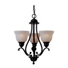 Mini-Chandelier with Beige / Cream Glass in Oil Rubbed Bronze Finish